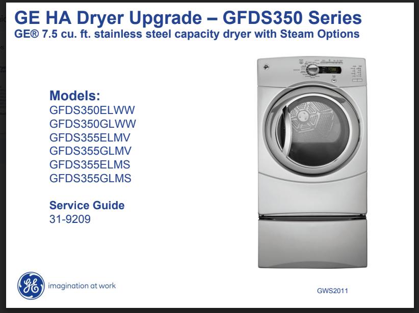 Manual Servicio Técnico Secadora G.e GFDS350 Series