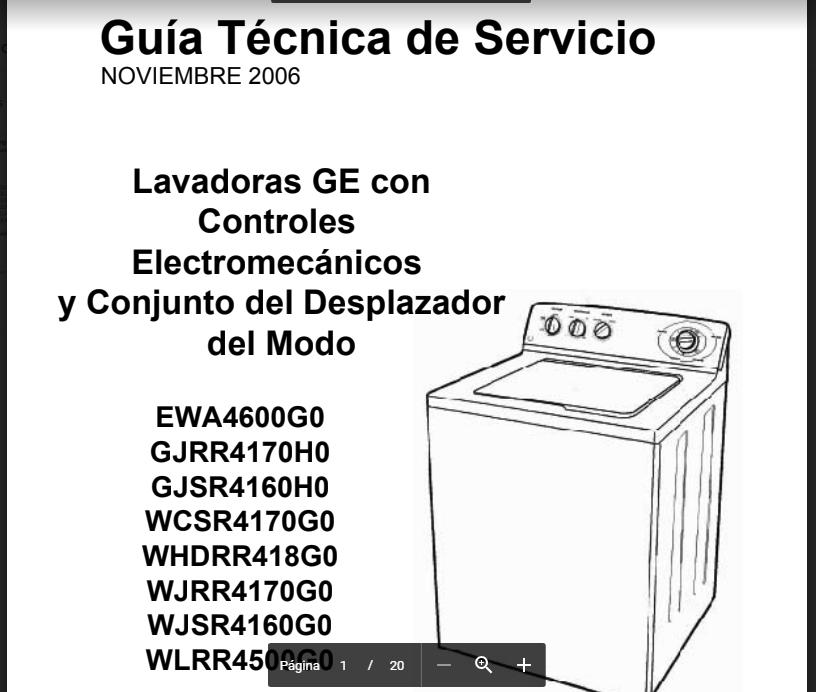 Manual Servicio Técnico Lavadora 2090 G.e